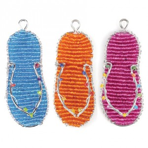 Beaded Flip Flop Key Chain